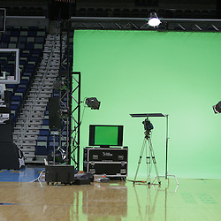 26 September 2008:  A green screen set up for Hornets player video promos during media day for the New Orleans Hornets at the New Orleans Arena in New Orleans, LA.