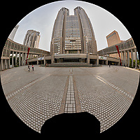 Afternoon Fisheye View of Citizen's Plaza and the Metropolitan Government Building. Composite of 45 images taken with a Leica CL camera and 11-23 mm wide-angle zoom lens (ISO 100, 11 mm, f/11, 1/60 sec). Raw images processed with Capture One Pro and AutoPano Giga Pro.