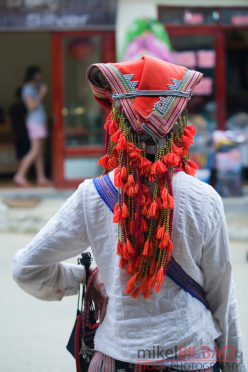 Red Dzao ethnic woman headdress.<br />