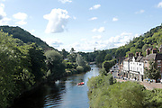 Town of Ironbridge, home to the worlds first cast iron bridge and widely seen an iconic symbol of the industrial revolution, Shropshire, United Kingdom, 2017-08-28.