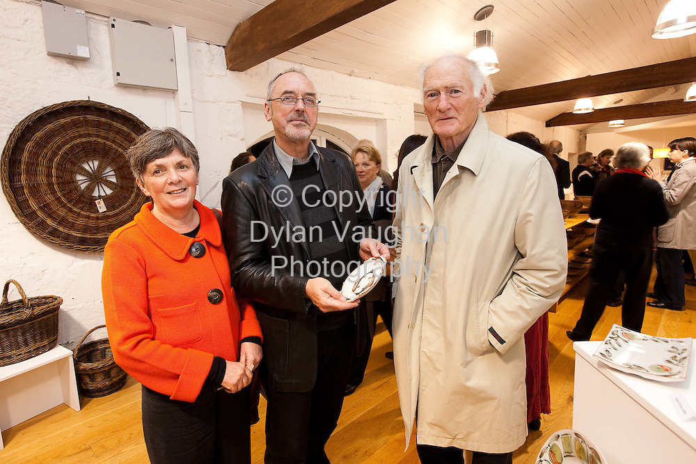 24/10/2008.'Pictured at the opening of the Autumn Feast at the Kilkenny Design Centre a show by Irish craftspeople and artists of work that celebrates the joy of food were from left Mairead McAnallen, Les Reed and Tony Barry..Picture Dylan Vaughan..