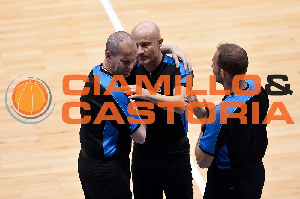 DESCRIZIONE : Trieste Nazionale Italia Uomini Torneo internazionale Italia Serbia Italy Serbia<br /> GIOCATORE : Guerrino Cerebuch Paolo Taurino Arbitro<br /> CATEGORIA : Fairplay Pregame Arbitro<br /> SQUADRA : Arbitro<br /> EVENTO : Torneo Internazionale Trieste<br /> GARA : Italia Serbia Italy Serbia<br /> DATA : 05/08/2014<br /> SPORT : Pallacanestro<br /> AUTORE : Agenzia Ciamillo-Castoria/Max.Ceretti<br /> Galleria : FIP Nazionali 2014<br /> Fotonotizia : Trieste Nazionale Italia Uomini Torneo internazionale Italia Serbia Italy Serbia
