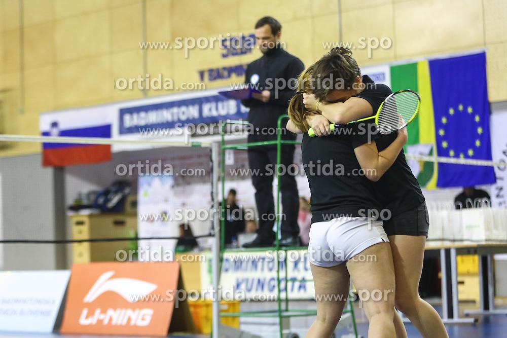 Nika Koncut and Sabina Magyar (BK Mladost) during 58th Slovenian national championship in badminton on Februar 1, 2015 in Zg. Kungota, Slovenia. (Photo By Grega Valancic / Sportida)