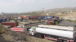 April 27, 2017 - Pakistan - HUB, PAKISTAN, APR 27: Heavy traffic stuck in gridlines at Northern Bypass due to blockage road after a cargo carrier truck's engine failure in mid of road, in Hub on Thursday, April 27, 2017. (Credit Image: © PPI via ZUMA Wire)