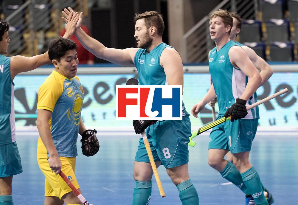 BERLIN - Indoor Hockey World Cup<br /> Men: Australia - Kazakhstan<br /> foto: SECCULL Adam scored.<br /> WORLDSPORTPICS COPYRIGHT FRANK UIJLENBROEK
