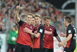 22.04.2016, Schwarzwald Stadion, Freiburg, GER, 2. FBL, SC Freiburg vs MSV Duisburg, 31. Runde, im Bild Jubel bei (v.l.n.r.) Nils Petersen (SC Freiburg) Maximilian Philipp (SC Freiburg) Mike Frantz (SC Freiburg) Christian Guenter (SC Freiburg) // during the 2nd German Bundesliga 31th round match between SC Freiburg and MSV Duisburg at the Schwarzwald Stadion in Freiburg, Germany on 2016/04/22. EXPA Pictures &copy; 2016, PhotoCredit: EXPA/ Eibner-Pressefoto/ Laegler<br /> <br /> *****ATTENTION - OUT of GER*****