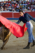 Professional bullfighter Oscar Higares guides his second bull of the day as it charges past his body at full speed at the annual village festival of San Juan in Campos del Rio, near Murcia in southern Spain.  (From the book What I Eat: Around the World in 80 Diets.)  MODEL RELEASED.