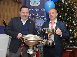 Pictured at the Westport GAA Club dinner dance at Hotel Westport were Brendan Geraghty and Colm Forrestal with the Nicky Rackard Cup and the Genfitt Cup (Mayo Hurling League).<br />