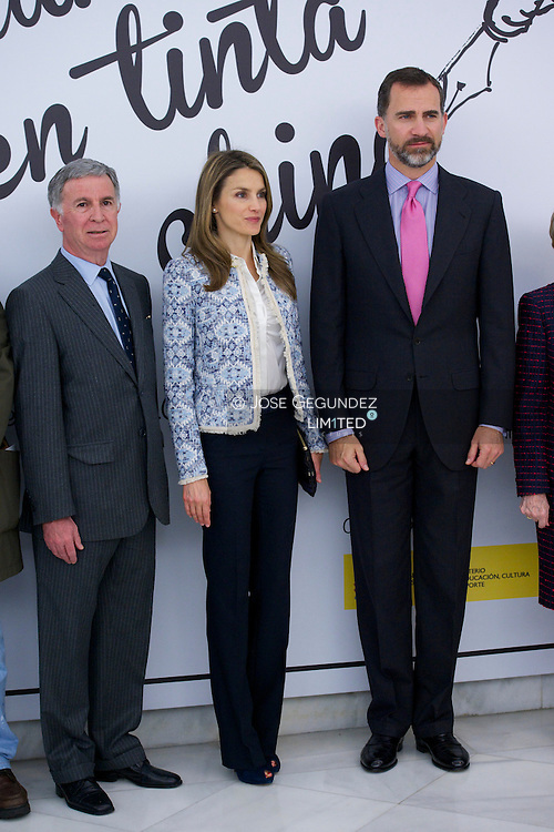 Prince Felipe of Spain and Princess Letizia of Spain attend the Opening of the exhibition 'The ink Transition' at National Library on May 27, 2013 in Madrid