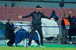 NAPLES, ITALY - Wednesday, October 3, 2018: Liverpool's manager Jürgen Klopp reacts during the UEFA Champions League Group C match between S.S.C. Napoli and Liverpool FC at Stadio San Paolo. (Pic by David Rawcliffe/Propaganda)