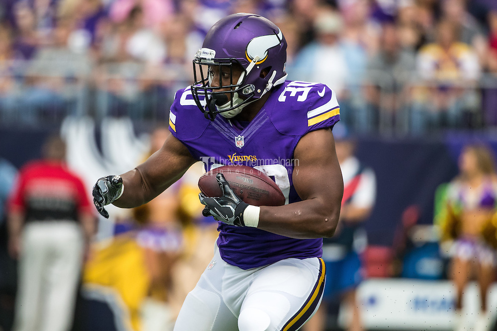 Aug 28, 2016; Minneapolis, MN, USA; Minnesota Vikings running back C.J. Ham (30) during a preseason game against the San Diego Chargers at U.S. Bank Stadium. The Vikings defeated the Chargers 23-10. Mandatory Credit: Brace Hemmelgarn-USA TODAY Sports