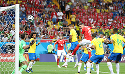 ROSTOV-ON-DON, June 17, 2018  Steven Zuber (3rd R) of Switzerland heads the ball to score during a group E match between Brazil and Switzerland at the 2018 FIFA World Cup in Rostov-on-Don, Russia, June 17, 2018. (Credit Image: © Lu Jinbo/Xinhua via ZUMA Wire)