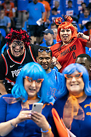 OKLAHOMA CITY, OK - APRIL 21: Fans of the Portland Trail Blazers before a game against the Oklahoma City Thunder during Round One Game Three of the 2019 NBA Playoffs on April 21, 2019 at Chesapeake Energy Arena in Oklahoma City, Oklahoma  NOTE TO USER: User expressly acknowledges and agrees that, by downloading and or using this photograph, User is consenting to the terms and conditions of the Getty Images License Agreement.  The Trail Blazers defeated the Thunder 111-98.  (Photo by Wesley Hitt/Getty Images) *** Local Caption ***