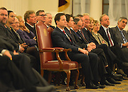 © Licensed to London News Pictures. 18/02/2013. City of London, UK Deputy Prime Minister Nick Clegg (centre) waits to give a speech at Mansion House on decentralisation. It is the inaugural speech of the annual slot, reserved for the Deputy Prime Minister, to reflect the realities of Coalition. Photo credit : Stephen Simpson/LNP