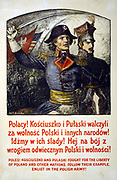 World War I Polish army recruitment poster, 1917.  Casimir Pulaski and Thaddeus Kosciuszko, 18th/19th century Polish heroes used to appeal to Polish nationalism to recruit men to fight for their country.