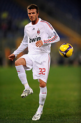 Midfielder David Beckham of AC Milan in action during the Serie A match between AS Roma v AC Milan held at Stadio Olimpico on January 11, 2009 in Rome, Italy.