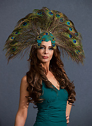 LIVERPOOL, ENGLAND - Thursday, April 6, 2017: Essy Van Der Vlies, 44 from The Netherlands, wearing Valery's Vintage dress and a peacock fascinator from House of Charles, during The Opening Day on Day One of the Aintree Grand National Festival 2017 at Aintree Racecourse. (Pic by David Rawcliffe/Propaganda)