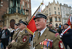 October 7, 2018 - Krakow, Poland - Polish Army veterans in front of Mariacki Basilica during the parade in Krakow's Main Market Square..On Sunday, October 7, 2018, in Krakow, Poland. (Credit Image: © Artur Widak/NurPhoto/ZUMA Press)