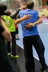Boris Denic and Uros Zorman after handball match between National teams of Slovenia and Hungary in play off of 2015 Men's World Championship Qualifications on June 15, 2014 in Rdeca dvorana, Velenje, Slovenia. Photo by Urban Urbanc / Sportida