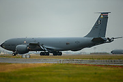 A US Air force Boeing KC-135 Stratotankerat makes it's way to hanger after landing at RAF Mildenhall on 10 June 2020.