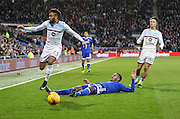 Kenneth Zohore of Cardiff City is fouled by Jordan Amavi of Aston Villa during the EFL Sky Bet Championship match between Cardiff City and Aston Villa at the Cardiff City Stadium, Cardiff, Wales on 2 January 2017. Photo by Andrew Lewis.