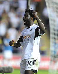 "Swansea City's Wilfried Bony celebrates  - Photo mandatory by-line: Joe Meredith/JMP - Tel: Mobile: 07966 386802 22/08/2013 - SPORT - FOOTBALL - Liberty Stadium - Swansea -  Swansea City V Petrolul Ploiesti - Europa League Play-Off EDITORIAL USE ONLY. No use with unauthorised audio, video, data, fixture lists, club/league logos or ""live"" services. Online in-match use limited to 45 images, no video emulation. No use in betting, games or single club/league/player publications"