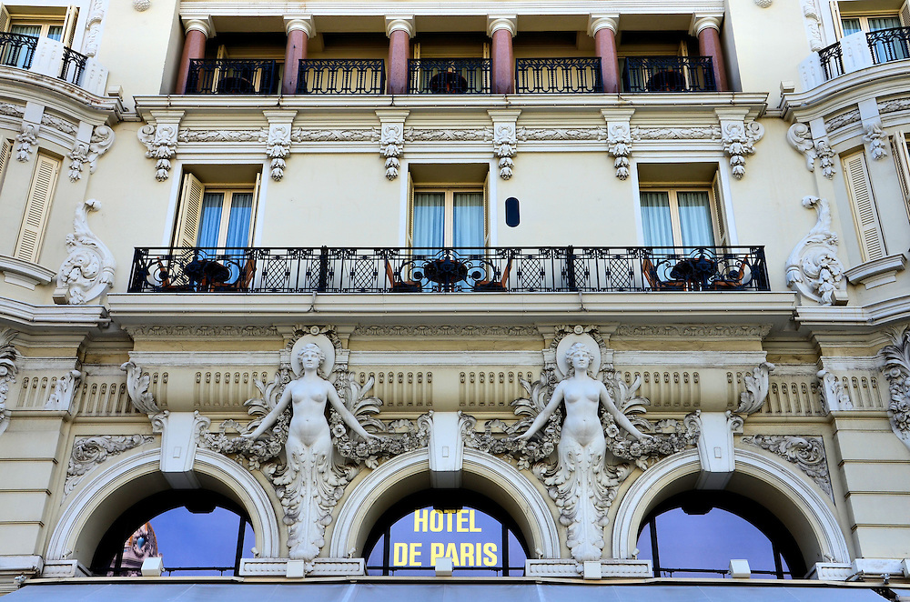 H&ocirc;tel de Paris Diamond Suite Terrace in Monte Carlo, Monaco <br /> This close-up of the H&ocirc;tel de Paris fa&ccedil;ade from the Place du Casino square shows the terrace of the Diamond Suite Charles Garnier.  This 1,830 square foot suite, named after a famous architect, comes with two bedrooms, two bathrooms and a living room for about $10,000 a night.  And that does not include a view of the Mediterranean.
