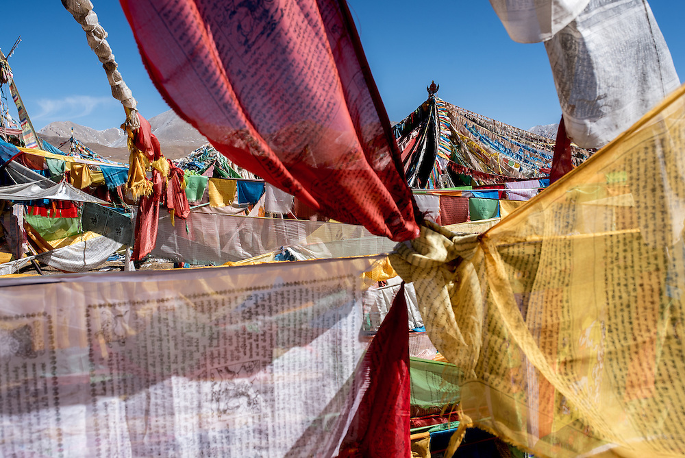Prayer flags at the base of Amnye Amchen mountain in Amdo region, Tibet (Qinghai, China).