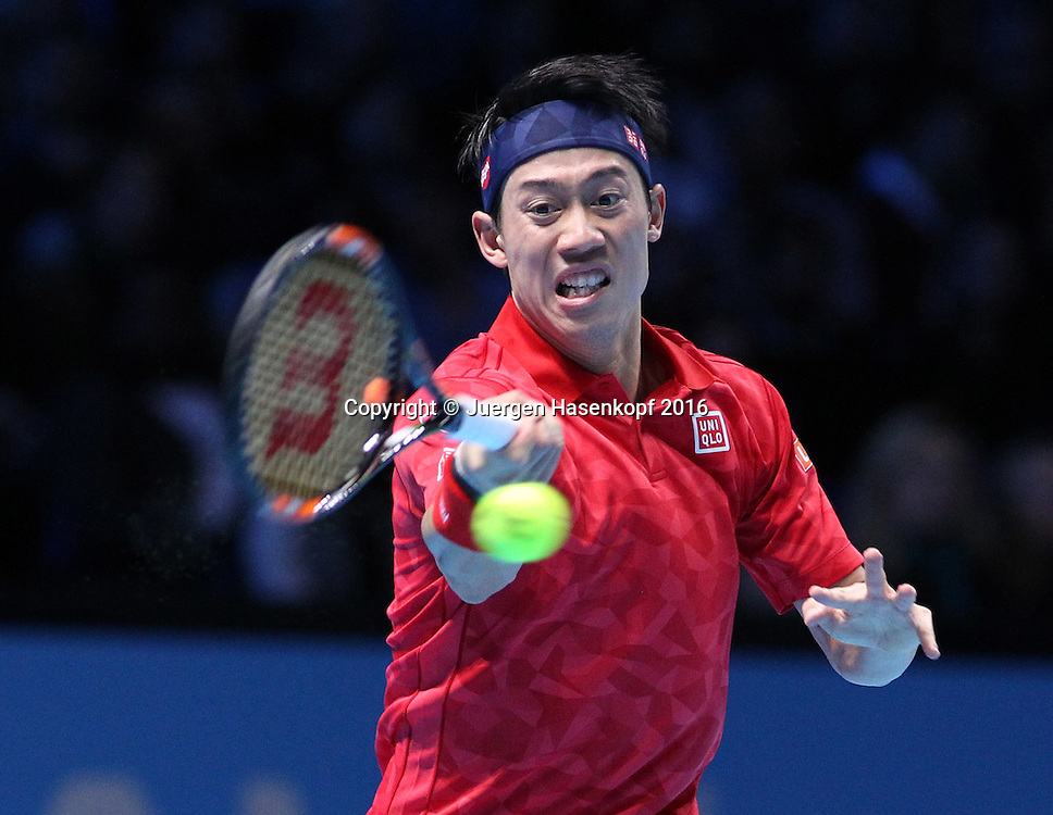 KEI NISHIKORI (JPN), ATP World Tour Finals, O2 Arena, London, England.<br /> <br /> Tennis - ATP World Tour Finals 2016 - ATP -  O2 Arena - London -  - Great Britain  - 18 November 2016. <br /> &copy; Juergen Hasenkopf/Grieves