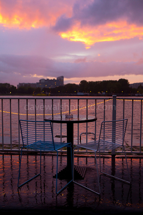 The Rain in Antwerp. Table and chairs at Bar Bibi, below near Het Steen, Antwerp