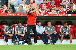 04.08.2015, Allianz Arena, Muenchen, GER, AUDI CUP, FC Bayern Muenchen vs AC Mailand, im Bild Trainer Pep Guardiola (FC Bayern Muenchen) gibt Anweisungen // during the 2015 AUDI Cup Match between FC Bayern Muenchen and AC Mailand at the Allianz Arena in Muenchen, Germany on 2015/08/04. EXPA Pictures © 2015, PhotoCredit: EXPA/ Eibner-Pressefoto/ Schüler<br /> <br /> *****ATTENTION - OUT of GER*****