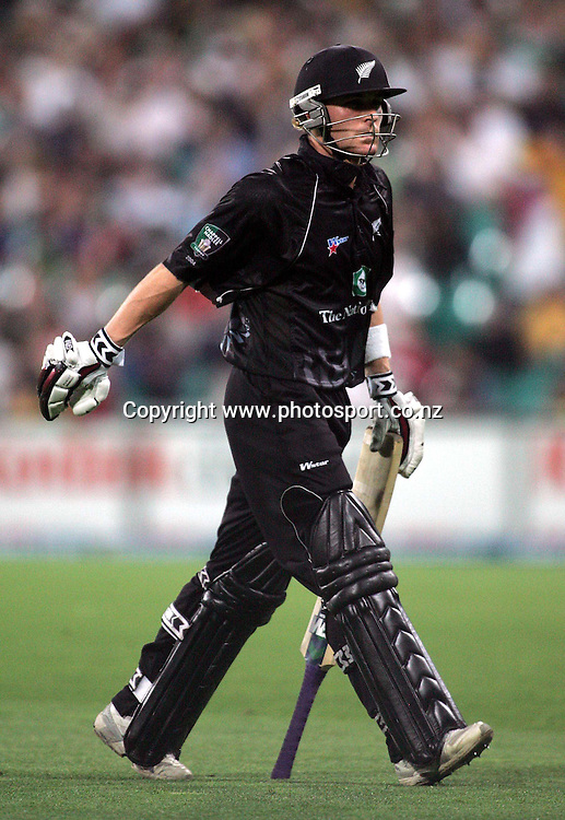 Brendoon McCullum walks iff the field unhappy after being given out lbw for 5 during game two of the Chappell-Hadlee Trophy between Australia and New Zealand played at the Sydney Cricket Ground December 8, 2004 in Sydney, Australia. Australia won the match by 17 runs.<br />