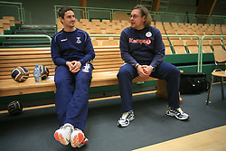 Bostjan Kavas and physiotherapist Gorazd Zuzek at practice of Slovenian handball men national team before going to Israel, on October 27, 2008 in Lasko, Slovenia. (Photo by Vid Ponikvar / Sportal Images)