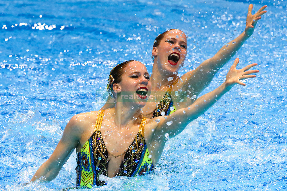"""May 10, 2019 - Saint Petersburg, Russia - The Netherlands team compete in the Duet Free Preliminary during of the European Artistic """"Synchronised"""" Swimming Champions Cup 2019 on May 10, 2019, in St.Petersburg, Russia  (Credit Image: © Igor Russak/NurPhoto via ZUMA Press)"""