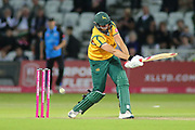 Matthew Carter of Nottinghamshire Outlaws is about to be bowled out during the Vitality T20 Blast North Group match between Nottinghamshire County Cricket Club and Worcestershire County Cricket Club at Trent Bridge, West Bridgford, United Kingdon on 18 July 2019.
