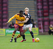 23rd December 2017, Fir Park, Motherwell, Dundee; Scottish Premier League football, Motherwell versus Dundee; Motherwell's Gaël Bigirimana battles for the ball with Dundee's A-Jay Leitch-Smith