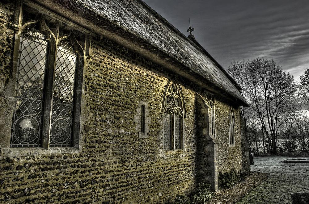 The thatched church at Thornham, Suffolk, England