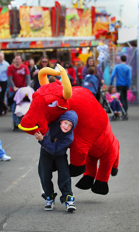Royal Melbourne Show, 8yrs Patrick Brady of Whittlesea gives his best shot at carrying home 'El Toro' - Pic By Craig Sillitoe 18/09/2010 melbourne photographers, commercial photographers, industrial photographers, corporate photographer, architectural photographers, This photograph can be used for non commercial uses with attribution. Credit: Craig Sillitoe Photography / http://www.csillitoe.com<br />