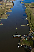 Nederland, Utrecht, Amerongen,  07-03-2010 ; pontje over de Lek.luchtfoto (toeslag), aerial photo (additional fee required).foto/photo Siebe Swart