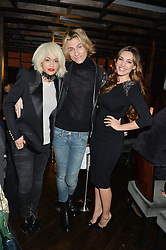 Left to right, RITA ORA, KYLE DE'VOLLE and KELLY BROOK at a birthday party for Kyle De'Volle hosted by Rita Ora at Bo Lang, 100 Draycott Avenue, London SW3 on 29th November 2013.