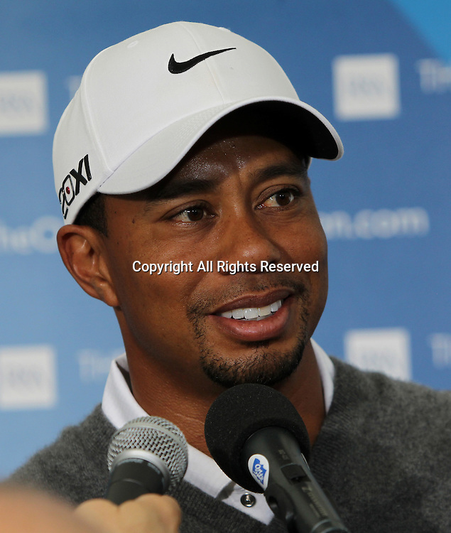 21.07.12 Lytham & St Annes, England. American Tiger Woods answers questions from the media after the third round of The Open Golf Championship from the Royal Lytham & St Annes course in Lancashire