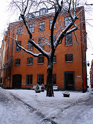 Beautiful square in Gamla Stan old town district in winter in Stockholm Sweden