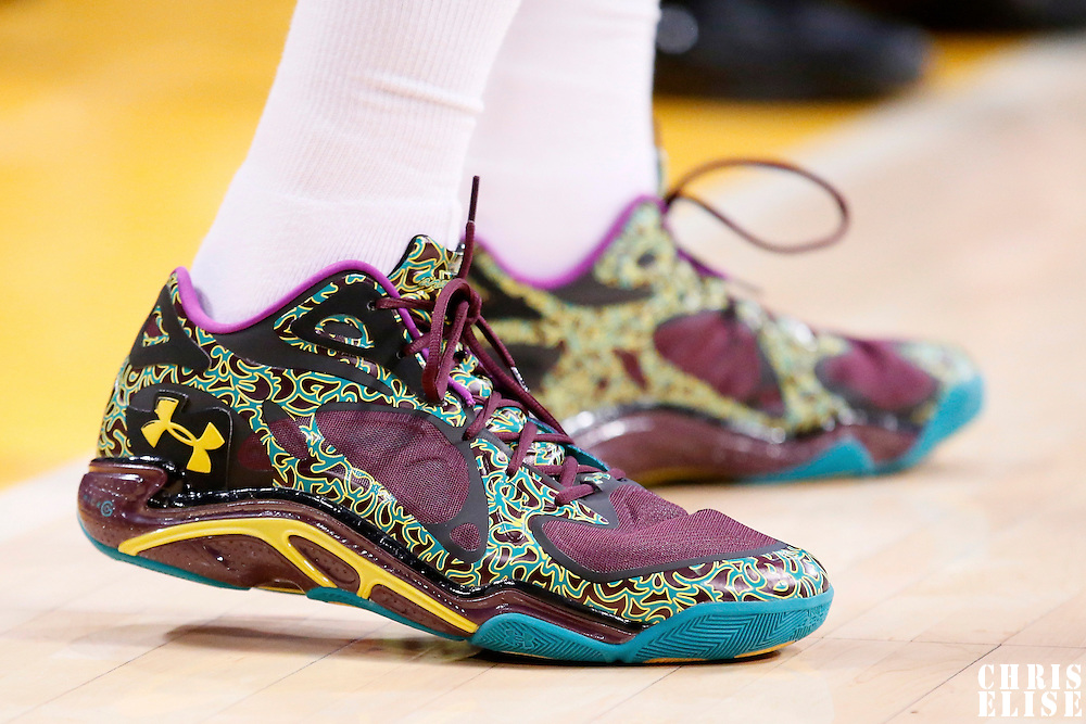 09 March 2014: Close view of Los Angeles Lakers shooting guard Kent Bazemore (6) Under Armour shoes during the Los Angeles Lakers 114-110 victory over the Oklahoma City Thunder at the Staples Center, Los Angeles, California, USA.