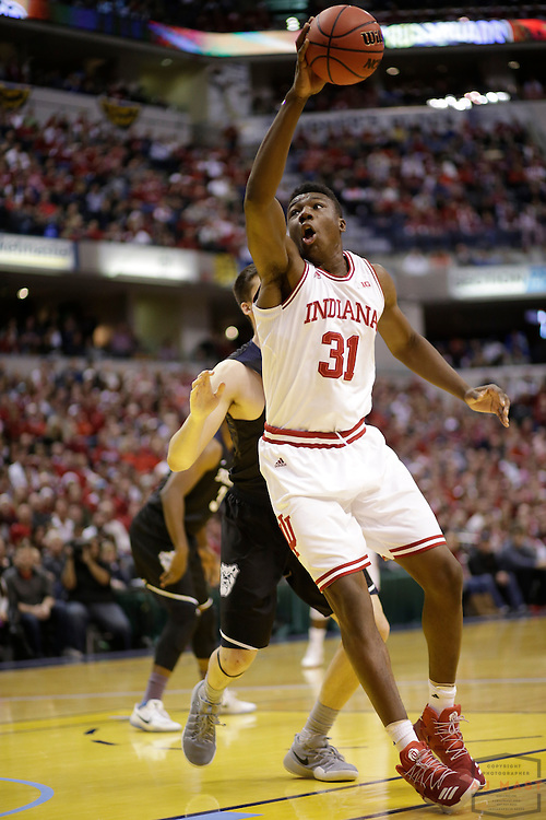 Indiana center Thomas Bryant (31) in action as Butler played Indiana in the Crossroads Classic, an NCCA college basketball game, in Indianapolis, Saturday, Dec. 17, 2016. (AJ Mast)