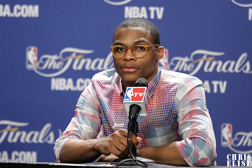 17 June 2012: Oklahoma City Thunder point guard Russell Westbrook answers journalists during the press conference following the Miami Heat 91-85 victory over the Oklahoma City Thunder, in Game 3 of the 2012 NBA Finals, at the AmericanAirlinesArena, Miami, Florida, USA.