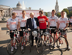 © Licensed to London News Pictures. LONDON, UK  05/07/11. Alastair Campbell, Chairman of Fundraising at Leukaemia and Lymphoma Research, and the Mayor of London, Boris Johnson, ride in Trafalgar Square alongside four school boys who are set to cycle from London to Lisbon in aid of the blood cancer charity. Alastair Campbell, L-R Tom Prebenson (16), Louise Metcalfe (17), Boris Johnson, Alastair Campbell, Archie Gilmour (17, Boris Johnson's godson), Harry Pearson-Gregory (16), for more information see www.beatbloodcancers.org. Please see special instructions for usage rates. Photo credit should read Matt Cetti-Roberts/LNP