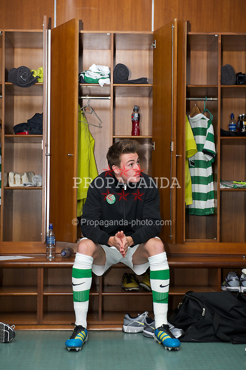 GLASGOW, SCOTLAND - Monday, November 7, 2011: Glasgow Celtic's Jackson Irvine relaxes in the dressing room ahead of the NextGen Series Group 1 match against Manchester City at Celtic Park. (Pic by David Rawcliffe/Propaganda)