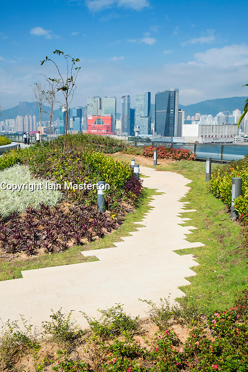 Public garden and park on rooftop of new Kai Tak Cruise Terminal in Hong Kong