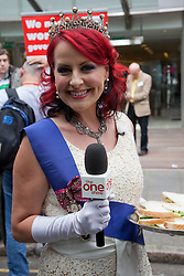"London, UK  29/04/2011. The Royal Wedding of HRH Prince William to Kate Middleton. Presenter and voice coach Carrie Grant reporting from the Republic ""not the royal wedding"" street party.  Photo credit should read Bettina Strenske/LNP. Please see special instructions. © under licence to London News Pictures"