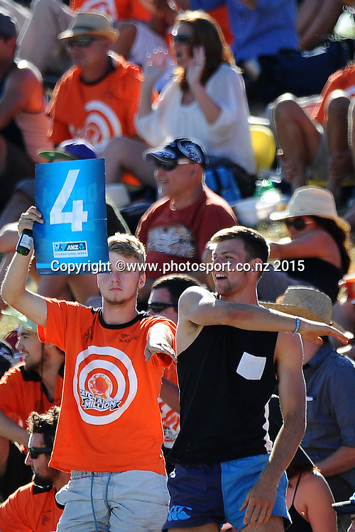 Fans during Match 4 of the ANZ One Day International Cricket Series between New Zealand Black Caps and Sri Lanka at Saxton Oval, Nelson, New Zealand. Tuesday 20 January 2015. Copyright Photo: Chris Symes/www.Photosport.co.nz